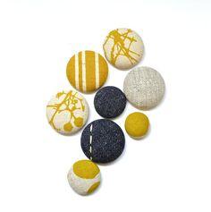 Magnets - Handmade. 8 Pack. Mustard, Denim. www.thewiggletree.com