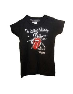 "The Rolling Stones Sticky Little Fingers Toddler T-Shirt - This black toddler t-shirt features the words ""Rolling Stones, Sticky Lil Fingers"" printed in white on its front, surrounding a white silhoue"