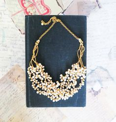 Pearl Wedding Necklace, Bridal Chunky Necklace, Weddings Jewellery, Gold and Pearl Necklace, Vintage Style Pearl Bib 1920s Necklace, on Etsy, £54.42