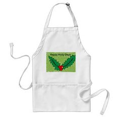 Christmas holly apron - kitchen gifts diy ideas decor special unique individual customized