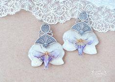 Chic Orchid Earrings, real Flower, Dangle Exotic Earrings, Flower Jewelry, silver filigree - purple orchid  - flower in resin-  jewelry by OneFlowerStory on Etsy
