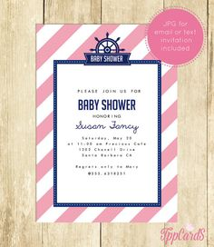 Nautical Baby Shower Invitations Nautical Baby Shower Invites Printable Invitations in Navy and Pink Instant Download 0001A-P  TppCards by TppCardS #tppcards #printable #invitations