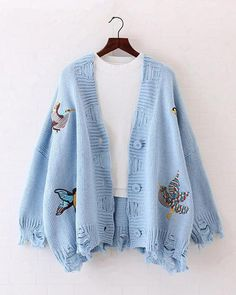78c8043f3f5fb0 Bird Embroidered Ripped Over-size Cardigan. risechic.com. Autumn New Bird  Embroidery Knit Cardigan Ripped Holes Loose Sweater Oversized Women ...