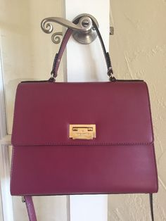 Kate Spade Harwood Place Doris Satchel Red Plum Leather  | eBay