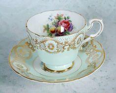 Paragon Mint Green Teacup and Saucer Set - Vintage Tea Cup and Saucer - Cups and Saucers