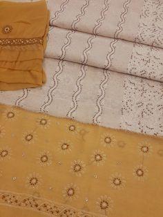 Lucknowi Chikankari Online Suit Length 3 piece White Cotton with very fine chikankari murri, shadow & kaamdani work with contrast brown bottom & designer embroidered chiffon dupatta