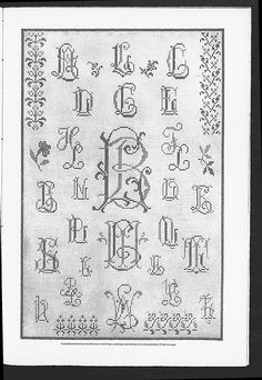 Cross stitch monograms and borders, some with Art Nouveau influences. (visit site for bigger picture) Gracieuse. Geïllustreerde Aglaja, 1904, aflevering 16, pagina 143