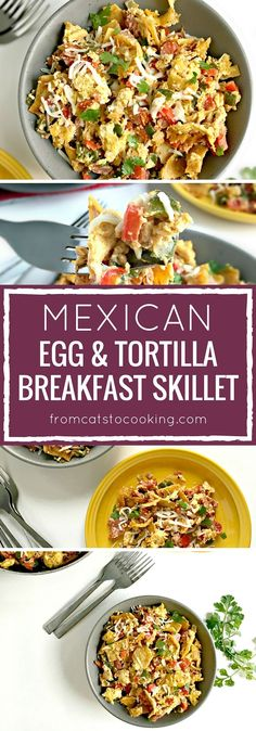 Migas (Mexican Egg Tortilla Breakfast Skillet) - made with crispy corn tortillas, eggs, tomatoes, bell peppers and onions, Migas is an easy morning meal that's sure to please the whole family! Breakfast Skillet, Easy Healthy Breakfast, Eat Breakfast, Free Breakfast, Tomato Breakfast, Breakfast Biscuits, Breakfast Sandwiches, Vegetarian Brunch Recipes, Mexican Food Recipes
