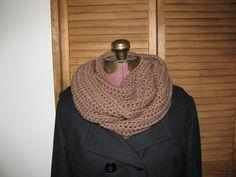 Tan crochet warm winter infinity cowl scarf on Etsy, $25.00