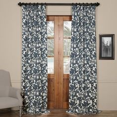 Exclusive Fabrics Fleur Blue Cotton Printed Curtain Panel