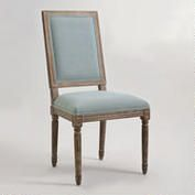 World Market - Blue Linen Square-Back Paige Dining Chairs, Set of 2