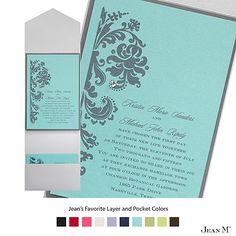 Aqua Shimmer Layered Wedding Invitation with Pocket