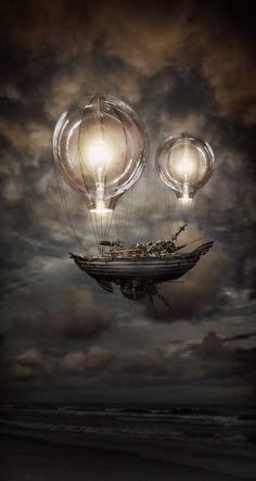 Steampunk airship zeppelin Light Balloon Ship by Robart523