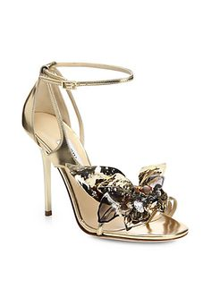 6d833944d378 Jimmy Choo - Mantle Jeweled Flower Metallic Leather Sandals
