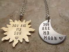 His her Couples relationship set Sun Moon handmade Hand Stamped Jewelry necklace gift for her you are my sun you are my moon matching set Couple Necklaces, Couple Jewelry, Friend Necklaces, Couple Rings, Matching Necklaces For Couples, Best Friend Gifts, Gifts For Friends, Gifts For Her, Relationship Jewelry