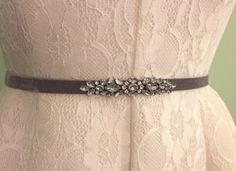 Delicate Pewter/Silver crystal embellished bridesmaids sash at www.etsy.com/shop/blushingbridalshop