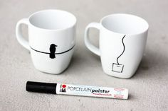 Use this Porcelain Painter pen to decorate mugs - no baking necessary to set the paint and they are dishwasher safeor use oil based sharpie Porcelain Pens, Porcelain Ceramics, Ceramics Tile, Porcelain Dinnerware, Diy Becher, Diy Gifts, Handmade Gifts, Oil Based Sharpie, Diy Mugs