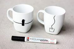 12 Eenvoudige DIY's om een mok op te vrolijken | porseleinstift