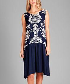Look at this #zulilyfind! Navy & White Paisley Drop Waist Dress- Plus Too #zulilyfinds