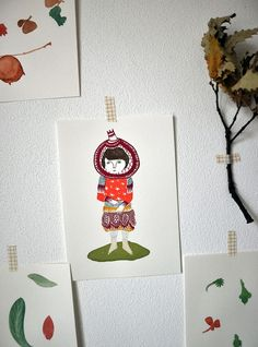 Pomegranate Girl - gocco screen print - limited edition