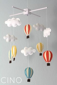 ✄ A Fondness for Felt ✄ felted craft diy inspiration -  felt mobile with clouds and hot air balloons