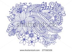 Doodle flowers. Hand drawing floral pattern