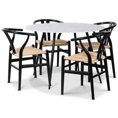 Sunda matgrupp, 110 cm runt bord + 4 st Sunda stolar svarta / repsits