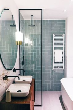 Modern Farmhouse, Rustic Modern, Classic, light and airy master bathroom design a few ideas. Bathroom makeover ideas and master bathroom renovation suggestions. Bathroom Renos, Small Bathroom Tiles, Bathroom Tile Patterns, Modern Bathrooms, Bathroom Remodel Small, Small Bathroom Layout, Very Small Bathroom, Bathroom Makeovers, Bathrooms On A Budget