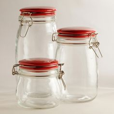 Glass Canisters with Red Clamp Lids | World Market