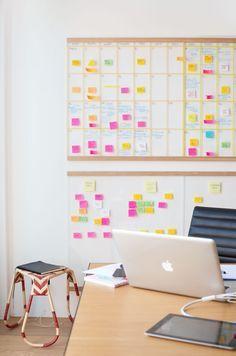DIY acrylic wall calendar (washi tape lines) via Lucy Feagins office in…