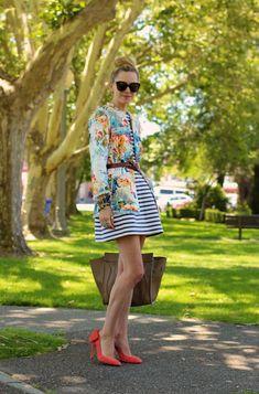 5. Floral Blazer With Striped Dress 2017 Street Style