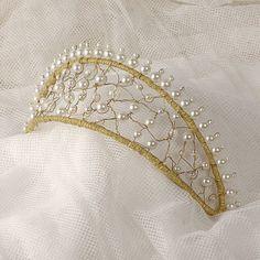 Wedding Crown Hair Accessory Pearl Tiara Beaded by VelvetTeacup