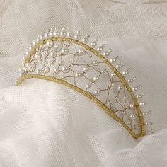 Wedding Crown Hair Accessory - Pearl Tiara - Beaded Pearl Bridal Headpiece - Wire and Pearls - Renaissance Hair Piece