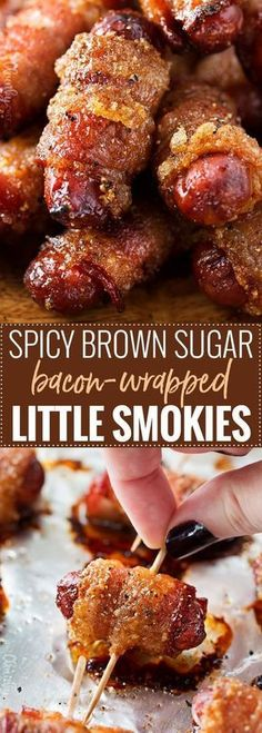 Spicy Brown Sugar Bacon-Wrapped Little Smokies   Mouthwatering, and incredibly simple to make, these little smokies are loaded with sweet, savory and spicy flavors! Perfect for game day, tailgating, a party, or a fun night at home!   https://www.thechunkychef.com   #party #appetizer #gameday #lilsmokies #bacon