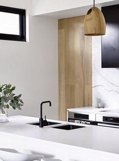 Black + white + wood kitchen//