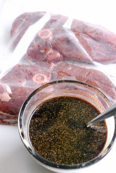 Mix the deer marinade recipe together steak recipe Deer Steak Marinade + Grilled Deer Steak Recipe Deer Backstrap Recipes, Deer Tenderloin Recipes, Deer Steak Recipes, Elk Recipes, Venison Tenderloin, Venison Recipes, Game Recipes, Recipe For Deer Steaks