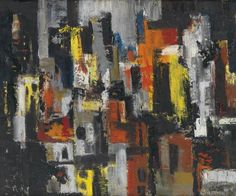 """Charles Alston, Untitled (Cityscape at Night), Oil on canvas, 20"""" x 24"""", circa 1950-55,"""