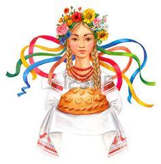 Welcome to Ukraine. Ukrainian woman with bread and salt. Ukrainian girl wreath and traditional clothes. Ukrainian Christmas, Image Hd, Ukraine Girls, Ukrainian Art, Stock Image, Amazing Drawings, My Heritage, Traditional Outfits, Russia
