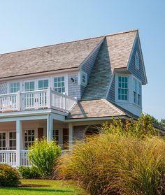Cape Cod Shingle Beach House with Coastal Interiors via HomeBunch Beach Cottage Style, Coastal Cottage, Coastal Homes, Beach House Decor, Coastal Living, Beach Homes, Porches, England Houses, Cape Cod Beaches