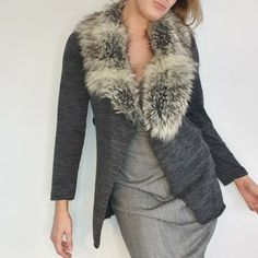 Made in Italy Size 10 12 Grey Wool Blend Faux Fur Cardigan House Coat Duster #MadeinItaly #Cardigan