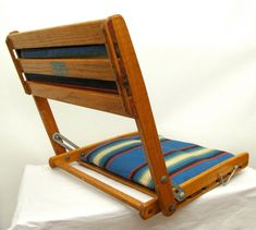 Summer Camp vintage folding oak and striped canvas portable travel chair Canoe Seat Bleacher Chairs, Canoe Seats, Boat Stuff, Striped Canvas, Wooden Boats, Floor Chair, Cool Furniture, Cushions, Canoeing