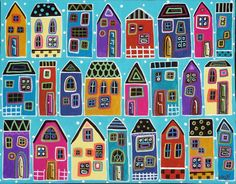 "Bright Colors + Folk Art Style = <3    ""24 Row Houses"" by Karla Gerard"