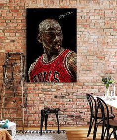 tableau-michael-jordan-chicago-bulls-typographie-3 Tableau Pop Art, Michael Jordan Chicago Bulls, Portrait, Buddha, Jordans, Statue, Impressionism, Canvas, Men Portrait
