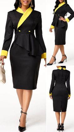 Excellent womens fashion are available on our internet site. Check it out and you wont be sorry you did. Classy Work Outfits, Chic Outfits, Outfits Dress, Fashion Outfits, Fashion Trends, African Wear Dresses, Latest African Fashion Dresses, Suit Fashion, Look Fashion