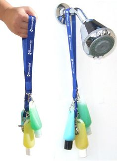 You can use a lanyard to put bottles of shampoo, conditioner, and body wash around your neck that you can take with you when you shower! It keeps it all in one place so it's easy to find.