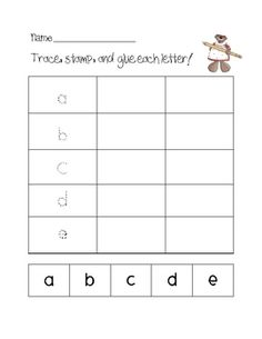 ABC center trace, stamp, glue! This is a great literacy center activity that you can use for five weeks. Have students trace the letter, stamp the letter, and then cut and glue the matching letter.  $