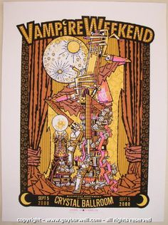 2008 Vampire Weekend Silkscreen Concert Poster by Guy Burwell