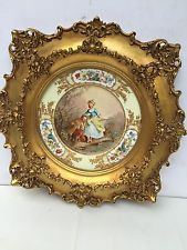 Sevres Antique Porcelain Hand Painted Plate With Gold Frame