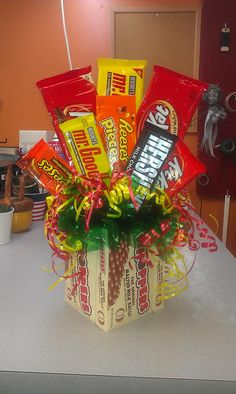 Candy Box And Bar Bouquet