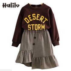 e461025d66d Halilo комплект одежды для детей Топы с длинными рукавами + клетчатая юбка  2 шт.